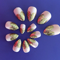 Valentine Glitter Heart Tip Claw Fake Nails
