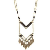 LEAF FRINGE DROP NECKLACE