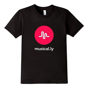 'musical.ly' T-Shirt (Black - Fitted Cut) [9714859791]
