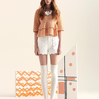 Patterned Sleeve Layered Blouse