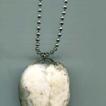 handmade white river stone pendant necklace ball chain jewelry unisex necklace
