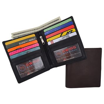 Swiss Marshall RFID Hipster Bifold Mens Premium Leather 2 ID Card Holder Slim Wallet