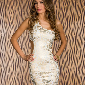 White Foil Print One Shoulder Side Cut Out Bodycon Mini Dress