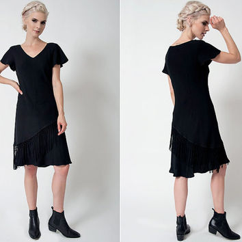 vintage 80s dress black bohemian tiered fringe dress black boho free people inspired dress black midi dress 80s little black dress v neck