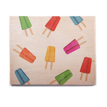 "KESS Original ""Raining Popsicle"" Multicolor Digital Birchwood Wall Art"