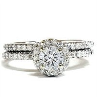 Genuine 1.20CT Round Diamond Pave Halo Thin Engagement Wedding Ring Set 14K