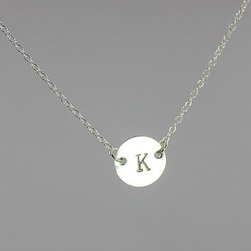 personalized necklace. initial sterling silver necklace. Celebrity Inspired necklace. one disc initial Jewelry . friendship, couple necklace