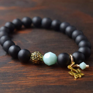 Women's Onyx Bracelet. Lotus Flower Bracelet. Black Beaded Bracelet. Women's Yoga Bracelet. Flower Bracelet. Lotus and Lava Bracelet.