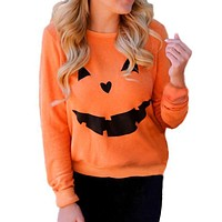 Halloween Hoodies Women Printed Funny Pumpkin Sweatshirts Autumn Winter Long Sleeve Cute Orange Pullovers 2017 Plus Size Sexy