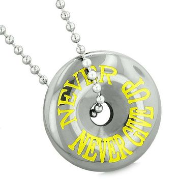 Inspirational Never Never Give Up Amulet Lucky Charm Magic Coin Donut Hematite Pendant Necklace