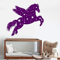 Vinyl Wall Decal Pegasus Fantastic Beast Fairy Tale Nursery Star Stickers Unique Gift (1041ig)
