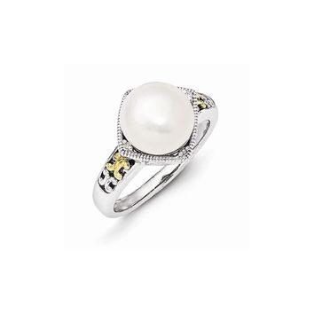 Sterling Silver w/14k Gold Freshwater Cultured Pearl and Diamond Ring