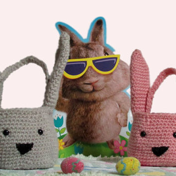 Easter Basket Decoration, Crochet Easter Bunny Basket and Egg Cozies