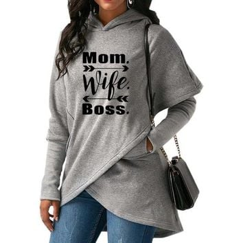 Mom wife boss arrow twist boho hoodie sweater