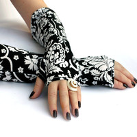 Victorian black and white ,  damask  fingerless  gloves  -  Arm Warmers,  Gothic, Dark, steampunk, flower