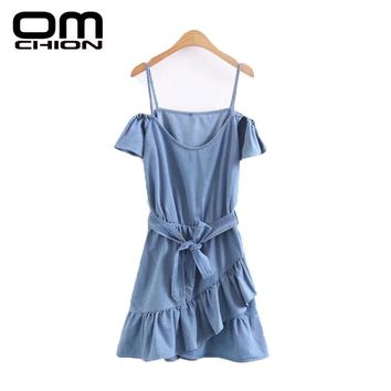 New Summer Dress Women Fashion Neck Denim Dress Casual Strap Ruffles Sexy Dresses