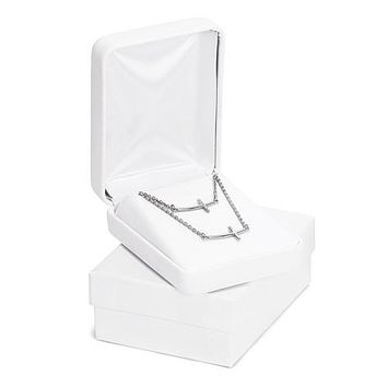 """Sterling Silver Sideways Cross 18"""" & 14"""" Mother and Daughter Necklace Set"""