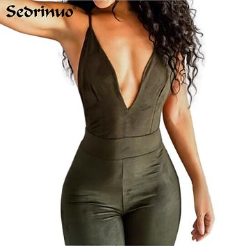 2018 Summer Women Party Bodycon Jumpsuit Deep V neck Sexy Cross back strappy bodysuit overalls bandage backless romper green