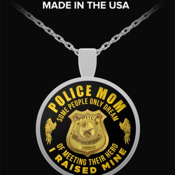 Police Mother Necklace - Round Pendant Charm For Mom