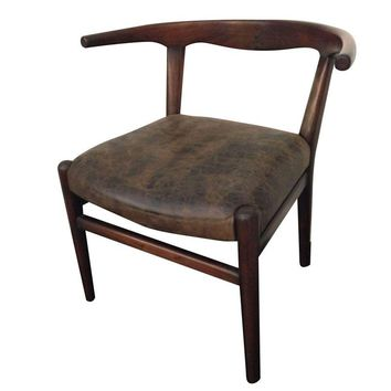 Pre-owned Mid-Century Chair with Brown Distressed Leather