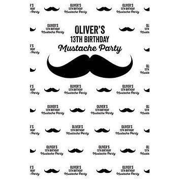 His Mustache Party Printed Photo Backdrop Step and Repeat Banner (Birthday, Baby shower, Wedding) - C091