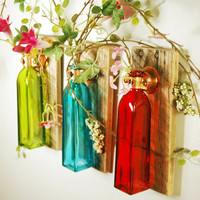 Seasons Blend Collection of Squared Colored Bottles each mounted on Recycled wood for unique rustic wall decor bedroom decor kitchen decor