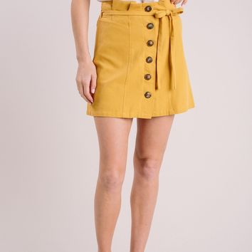 Kaylee Mustard Button Mini Skirt