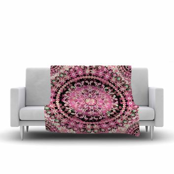 "Nina May ""Pink Mosaic Mandala"" Pink Beige Illustration Fleece Throw Blanket"