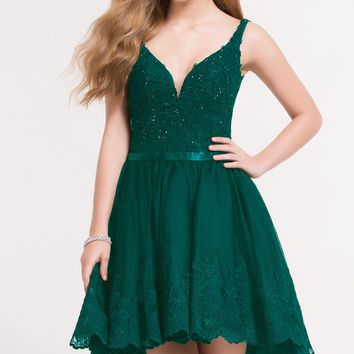 Alyce 3724 High Low Lace Dress with Corset Back