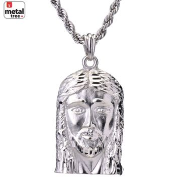 Jewelry Kay style Men s Hip Hop Iced Out Diamond Cut Jesus Face 4 mm Rope  Chain 91638c01f815