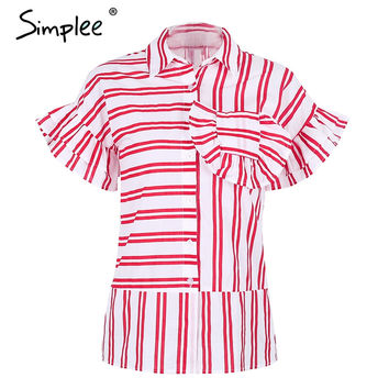Causal Red Blouse Ruffles Sleeve Striped