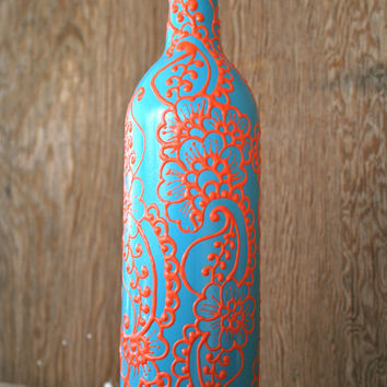 Hand Painted Wine bottle Vase, Up Cycled, Turquoise and Coral Orange, Vibrant Henna style design