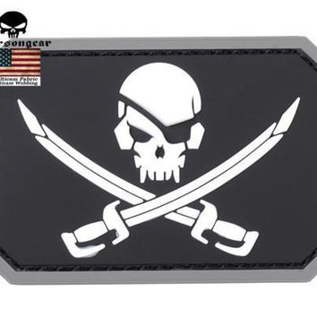 Emerson Skull 3D PVC Patch Pirate Captain Paintball Airsoft Tactical Military Skeleton Rubber Badge PVC Patch Custom Available