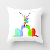 Snail Love Throw Pillow by Sartoris ART