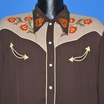 50s Embroidered Pearl Snap Western Shirt Extra Large