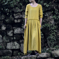 Linen Pleated Dress