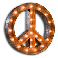 "Vintage Marquee Lights 24"" Peace Sign, Signs"