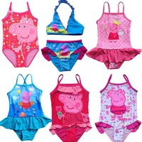 2017 Peppa Pig Swimwear New Girls Kids Fairy Tinkerbell Tankini Beachwear Bikini Swimsuit Dress Bathing Hot Sale Size 3-9Y