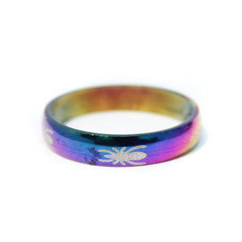 Engraved Rainbow Titanium Band Rings