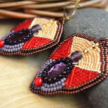 Bead embroidered earrings Beadwork Multicolored earrings Purple Red Beige seed bead earrings Bead embroidery jewelry Gift for her Taitallas