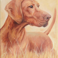 Hungarian Vizsla Pointer in the field DOG PORTRAIT, Miniature oil PAINTNG on canvas, Little hunting scene Framed Artwork, Small Original Art