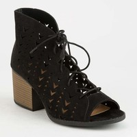 QUPID Laser Cut Black Womens Lace Up Booties