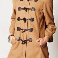 NWT Anthropologie Leopard Collar Melton Jacket  Coat Sz 8 and 10 - By Elevenses