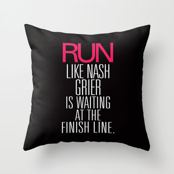 Run like Nash Grier is waiting at the Finish Line Throw Pillow by RexLambo