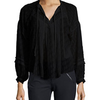 Lace-Trim Fil Coupe Top, Black, Size: