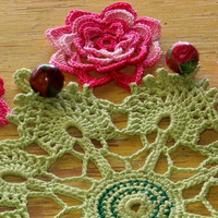 Beaded Cluny Lace Irish Rose Doily - Crochet Lace Flowers on Cluny Lace Round with Polymer Clay Flower Beads - Shabby Chic Decor