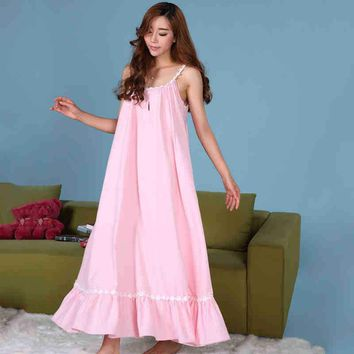 Pink/white Princess Nightgowns Women Sleepwear Long Cotton Nightdress Loose Vintage Nightgown Summer 2017