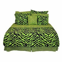 Zebra Print Bed in a Bag - Lime Green/Black