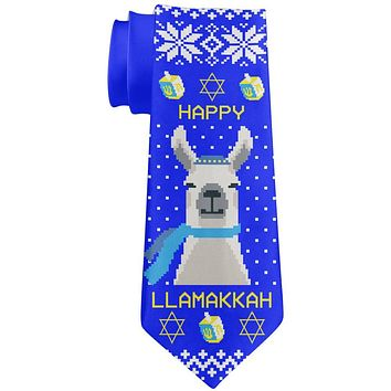 Llama Llamakkah Ugly Hanukkah Sweater All Over Neck Tie
