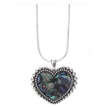 Adorable Abalone Heart Silver Necklace